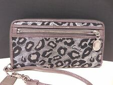 Coach Daisy Ocelet Metallic Gray/Black Large Zip Wallet F44381