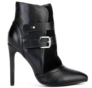 Womens Black High Slim Heel Ankle Boots Smart Office Zip Up Shoes Booties Sizes
