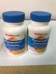 2 CVS Health Resveratrol Complex 100 Mg Trans 90 Capsules Ea Exp: 11/2020+