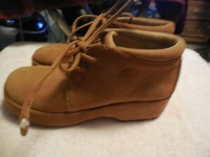 7M EASY SPIRIT womens tan Suede Leather comfort wedge Desert Boots