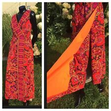 VTG 60's 70's Floral One-Pc Jumpsuit, Faux Wrap Dress Look, Wide Leg Sz S*