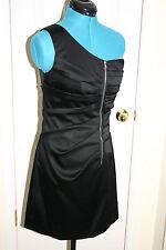 Phoebe Couture BLACK One SHOULDER Faux Front Zipper Detail DRESS Sz 6 $310 New
