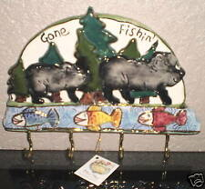 ~~ONE (1) GONE FISHING KEY HOLDER-Clayworks By Heather Goldmine~~ IMMEDIATE SHIP
