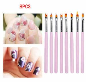 8PCS Pink Acrylic Nail Art Brush Sable Gel UV Nail Painting Flower Drawing Pen