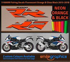 BMW S1000RR Fairing Decals. 2015-18 - Gloss Fluorescent Orange & Black Stickers
