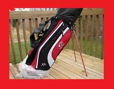 NEW TOP FLITE BY CALLAWAY IRONS WOODS PUTTER HYBRID W/ RED/BLACK/WHITE STAND BAG