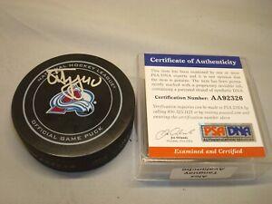 Alex Tanguay Signed Colorado Avalanche Official Game Hockey Puck PSA/DNA COA 1B