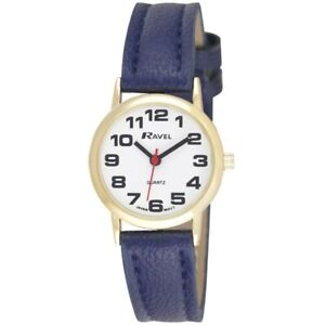 Ravel Womens Bold BIG NUMBERS Ladies Watch With Gold Casing Navy Blue  Strap