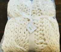 Pottery Barn Chunky Colossal Hand Knit Ivory Throw Blanket Decor Christmas Cream