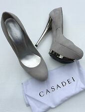 Casadei Silver and Gray suede high heel platform shoes size 39