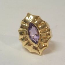 Retro 14 K Gold Ring, Marquise Cut Amethyst, Size 6