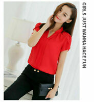 Women V-Neck Casual Short Sleeve Shirt Chiffon Loose Tops Blouse T Shirt
