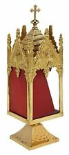 N.G. Brass Reliquary with Square Base Relic Holder for Church Supplies, 11.25 IN