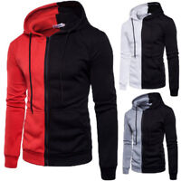 Mens Patchwork Color Hoodie Warm Hooded Zip Up Sweatshirt Coat Jacket Outwear #B