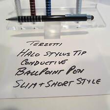 TERZETTI HALO-CT-SLIM/SHORT BLACK BALLPOINT PEN-CONDUCTIVE TOP-USE MINI REFILL