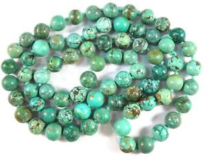 Vintage Chinese Turquoise Beaded Strand Necklace ~ 32 Inch