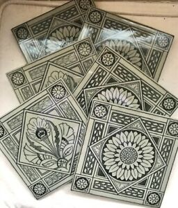 SET OF SIX ANTIQUE VICTORIAN MINTON HOLLINS & CO ARTS AND CRAFTS TILES 1877, VGC
