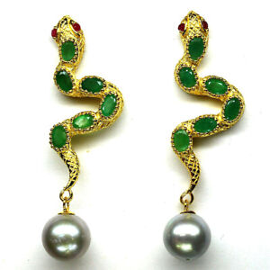 NATURAL GREEN EMERALD, PEARL & RUBY SNAKE EARRINGS 925 STERLING SILVER