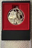 BRAND NEW AND BOXED FOOTBALL  MEDALLION/PENDANT, 50 MM,CAN BE ENGRAVED.