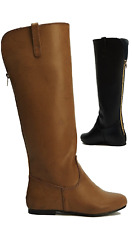 LADIES FLAT DESIGNER STYLE LONG KNEE HIGH RIDING WINTER LOW HEEL BOOTS UK
