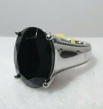 Thai Black Spinel Ring in Platinum over Sterling Silver, size 6, TGW 11.40 cts