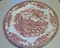 Churchill China  The Brook Pink Scene Dinner Plate 10""