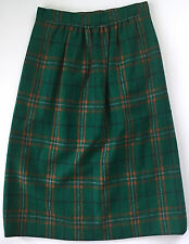 Vtg Womens Green Orange Blue White Lined Wool Tartan Plaid Skirt Size 26 Waist