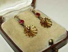 CHARMING,ANTIQUE,AUSTRO-HUNGARIAN 14CT GOLD DOREMEUSES/TREMBLEUSES RUBY EARRINGS