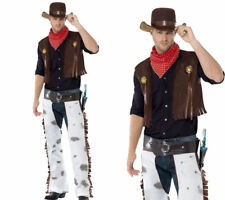 Mens Cowboy Western Costume Hat Wild West Woody Chaps Fancy Dress Adult Outfit