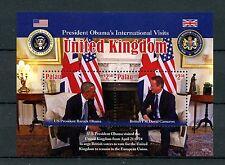 Palau 2016 MNH US President Barack Obama Visits UK 2v S/S David Cameron Stamps