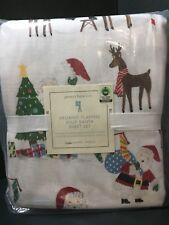 FLANNEL Pottery Barn Kids JOLLY SANTA Queen SHEET Christmas Bedroom Bed Organic