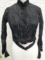 ANCIEN CORSAGE DE FEMME EN SOIE NOIRE - EPOQUE 1900