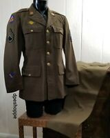 Vintage Green  Wool Field Jacket Coat & Pants US Army Flying Tigers Patch 40R