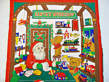 VINTAGE CHRISTMAS SANTA'S WORKSHOP RED BROWN WALL ADVENT CALENDAR ORGANIZER