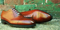 Men's Handmade Brown Leather Brogue Fashion Whole Cut Lace Up Formal Shoes