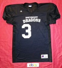 Champion MEN sz L DETROIT DRAGONS BLACK & WHITE football jersey # 3 EUC !!!