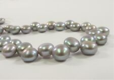 8mm SilverGray Round Button Freshwater Pearl Beads Genuine Cultured Pearl (#639)