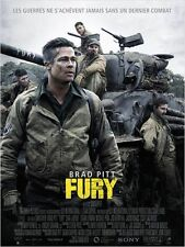 Affiche 40x60cm FURY 2014 Brad Pitt, Shia Labeouf, Lerman, Scott Eastwood EC