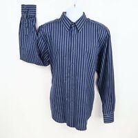 Robert Graham Dress Shirt Mens Size XL Blue Gray Striped 100% Cotton CLASSIC!