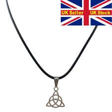 Silver triangle Triskele Triskelion celtic symbol Pendant Necklace Choker cord