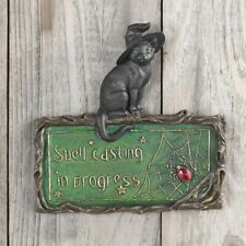 Clever Witch Spell Casting in Progress Wall Plaque Black Cat Sign Halloween