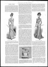 1899 Antique Print - LADIES FASHION Autumn Gown Costume Hat Silver Plate  (397)