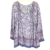 Lucky brand Peasant Top Womens Plus 2x long Sleeve Lightweight Floral Purple