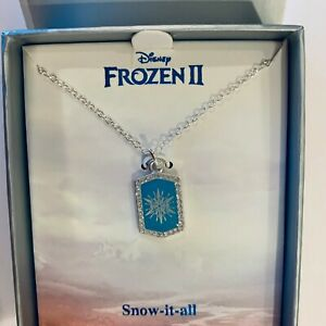 DISNEY,OFFICIAL NECKLACE  CRYSTAL ENAMEL PRINCESS ,Frozen 2,silver/blue  pendant