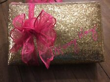 Mary Kay Gold Glitter Zippered  Cosmetic Bag