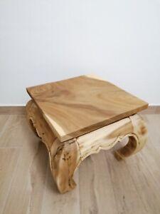 Tavolino Artigianale Stile Rustico Etnico in Legno 40 X 40