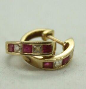 100% Genuine 10k Solid Yellow Gold CZ and Rubies Hoop Earrings Latch Back Lock