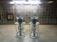 """2 Glass Crystal Table Lamps with Spear Prisms cut Glass base ,etched Globes 15"""""""