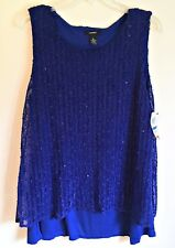 Alfani NEW Sleeveless Blouse Crochet Overlay Split Back Blue Sequin Stretch XL
