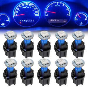 10x Blue 74 T5 1SMD LED Car Instrument Panel Light Dash Lamp Bulbs+Twist Sockets